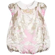 roberto cavalli baby girls pink u0026 gold silk u0027bubble u0027 hem dress