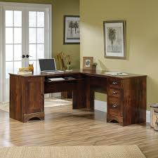 Realspace Magellan Collection L Shaped Desk Dimensions by Sauder Harbor View Corner Computer Desk Antiqued Paint Hayneedle