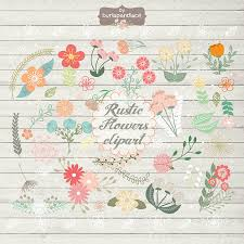 Rustic Wedding Floral Clip Art Hand Illustrated Digital