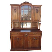 French Antique Walnut Hutch China Cabinet Antique Furniture