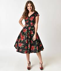 Hell Bunny Black Floral Print 1950s Style Croisette Cotton Dress