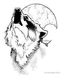 Wolf Howling At The Moon More Free Printable Animal Coloring Pages