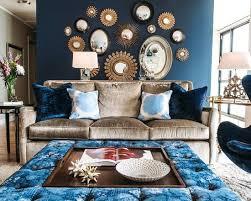 Dark Blue Accent Wall Living Room Grey