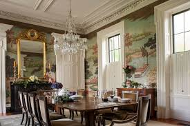 Victorian Dining Table Wall Landscape Mural Crystal Chandelier Mirror With Gold Frame Beige Chairs White