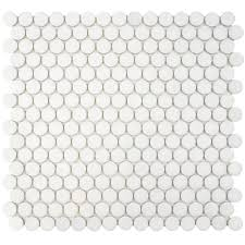 Home Depot Merola Penny Tile by Merola Tile Hudson Penny Round Matte White 12 In X 12 5 8 In X 5