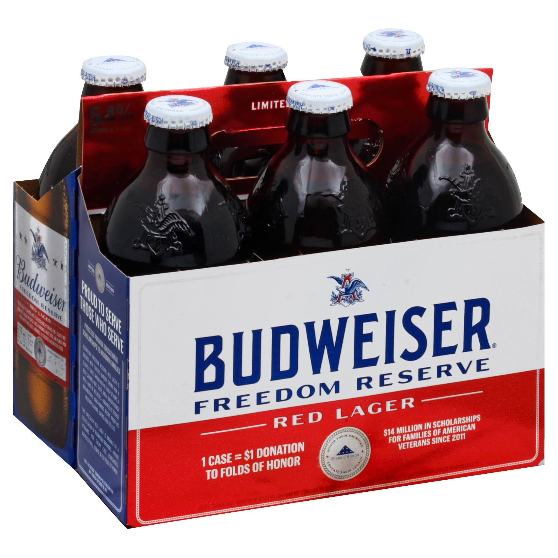 Budweiser Beer, Red Lager, Freedom Reserve - 6 pack, 12 fl oz bottles