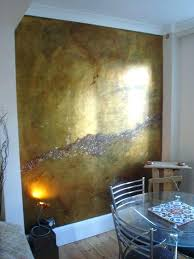 Metallic Interior Paint Appealing Gold Wall With Additional Decor Design