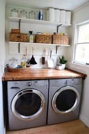 Bright White And Rustic Wood Laundry Room A Nice Functional Small With Open Shelving Butcher Block Countertop