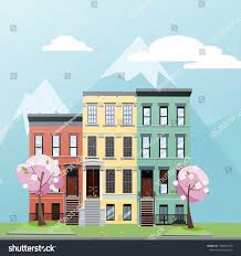 100 Three Story Houses Flat Cartoon Style Vector Illustration Spring Stock Vector Royalty