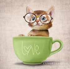 tea cup cat shop teacup cat kitten with glasses 5d diy painting