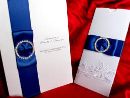 Royal Blue Damask Wedding Invitations