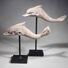 Greek Canosan Pottery Dolphins Custom Display Stand Back