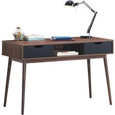 costway schreibtisch mit offenem fach und 2 schubladen computertisch aus holz arbeitstisch vintage bueürotisch pc tisch fuers wohnzimmer