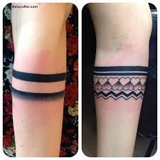 Amazing Solid Armband Tattoo And Little Heart Design