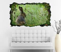 3d wandtattoo wilder hase kaninchen grünes feld selbstklebend wandbild wohnzimmer wand aufkleber 11l1781 3dwandtattoo24 de