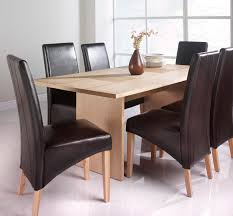 Denvor Oak Veneered Dining Table With 6 Leather Or Faux Chairs Oiled Finish