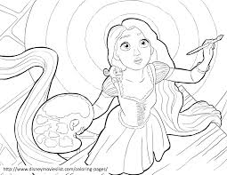 Disneys Tangled Rapunzel Painting Coloring Page