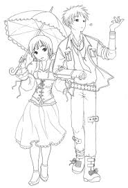 Couple Anime Emo Coloring Pages