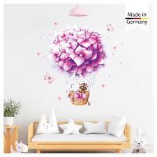 wandtattoo kinderzimmer heißluftballon blumen blüten wanddeko