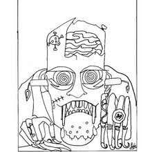 Monsters Magic Potion Halloween Scary Mask Coloring Page