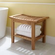 teakholz duschhocker mit regal badezimmer möbel ideen