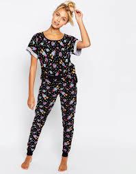 image 1 of asos space print tee u0026 legging pyjama set lingerie