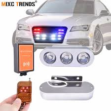 2Pcs 3 LEDs Police Strobe Warning Lights With Remote Control 12V ...