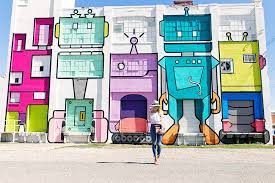 Deep Ellum Murals Address by Colorful Pom Pom Embellished Skinny High Waist Jeans