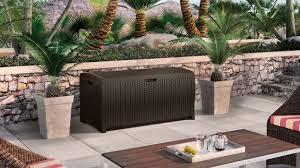 Suncast Resin Deck Box 50 Gallon by Suncast Elements 99 Gallon Resin Wicker Deck Box
