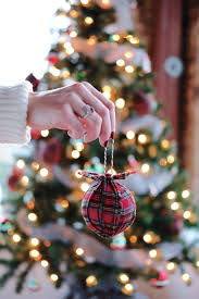 Plaid Christmas Tree DIY Ornaments Inexpensive