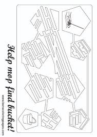 Bucket And Mop Maze Coloring Page