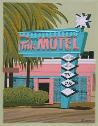 Mid Century Modern Eames Retro Limited Edition Print From Original Painting Pink Motel