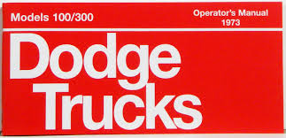 1973 Dodge Truck Owners Manual