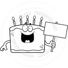 Cartoon Birthday Cake Sign Black and White Line Art