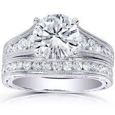 Moissanite Channel Diamond Bridal Ring Set 2 4 5 Carat ctw in 14k