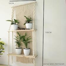 makramee pflanzen regal 50x100cm wohnzimmer dekoration