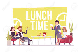 Lunch Time In The Office Young Workers Having Break For Food And Drinks Rest