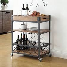 Amazon Myra Rustic Mobile Kitchen Bar Serving Cart Wood and