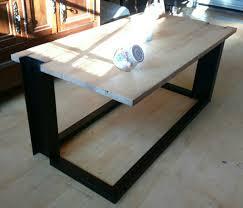 table basse bois metal style industriel pied ipn massif chène
