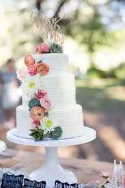 Rustic 3 Tier Wedding Cake with Fresh Flowers and Succulents