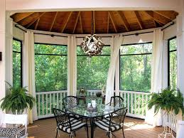 Outdoor Curtains For Screened Porch Traditional With Black Curtain Rod Patio