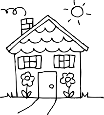 Sunny Day Black And White House Clipart