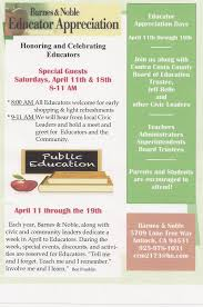 Antioch Barnes & Noble To Host Educator Appreciation Days, April ... 15 Deals You Can Get For Teacher Appreciation Week Dwym Bnperks Hashtag On Twitter Clarendon Bn Bnclarendon My Favorite Thing About Is Appreciation Meidema Sanchez Msanchez_mei Barnes Noble Village Crossing Home Facebook Wjusd Wdlandschools