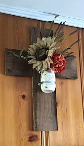 Wooden Cross Barnwood Mason Jar Wall By TheDavidsonDesign