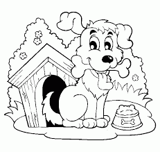 Dog House Happy With A Bone By His Coloring Page