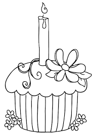 Cake With 10 Number Candle Clipart Black And White Cupcake With Candle Coloring