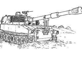 Army Car War Tank At The Beach In Coloring Pages