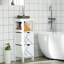 badezimmerschrank weiß badschrank schmal badezimmer kommode badregal badkommode holz kleines badschränkchen 2 etage