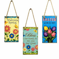 Welcome Spring Sign Hanging Plaque Easter Day Flower Butterfly Door Hanger Wall Decorations Wooden Novelty
