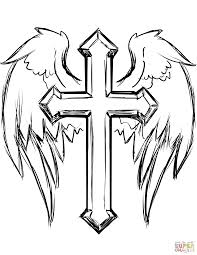 Click The Cross With Wings Coloring Pages To View Printable Version Or Color It Online Compatible IPad And Android Tablets